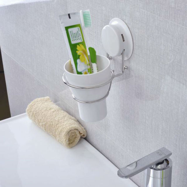 New Arrive Suction Cup Stainless Steel Toothbrush Holder, Toothbrush Cup Holder With Brushing Cup, Bathroom Set, TBG