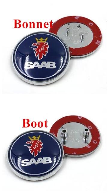 "2.5/"" 68mm Blue Rear Hood Emblem Badge Decal For SAAB 9-3 93 9-2X 2-PIN"