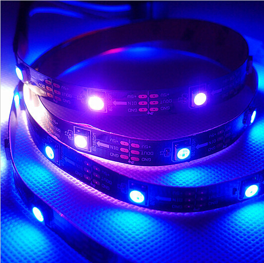 1m / 4m / 5m WS2812B Smart RGB LED Pixel Strip Svart / vit PCB 30/60 - LED-belysning - Foto 5