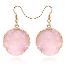 Unique Sparkly Colorful Drusy Round Circle Dangle Earings Pink Quartz Color Resin Stone Druzy Earrings For Women Jewelry E1318