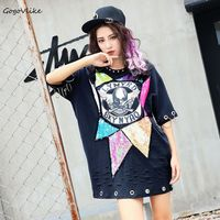 Skull Print T Shirt 2017 Women Punk Sequins Holes Streetwear Black Loose Rivets Rings Decoration Clothing