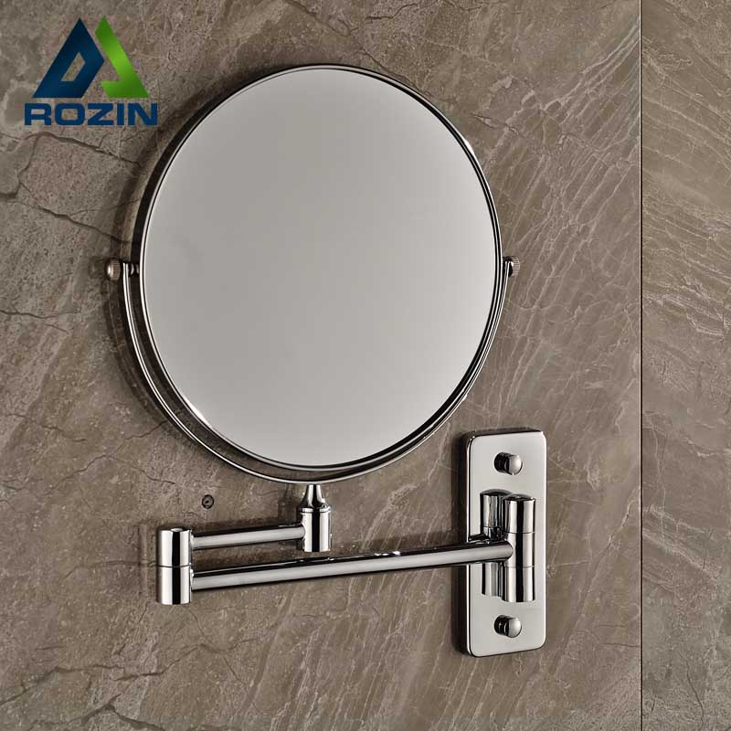 Bathroom Wall Mounted Extended Folding Arm Makeup Mirror 2-Face Magnifying Bathroom Mirror new fashion 6 inches led bathroom mirror dual arm extend 2 face metal makeup mirror 5x magnifying wall mounted extending folding