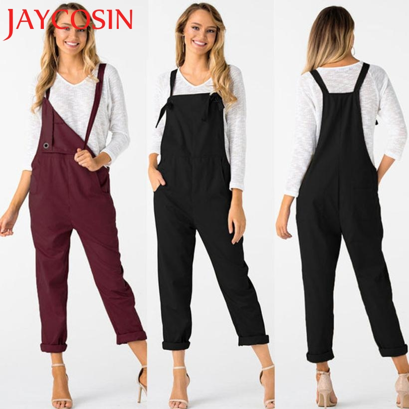 jumpsuits bodysuits Women Women Loose Dungarees Loose Long Pockets Rompers Jumpsuit Pants Trousers 0629