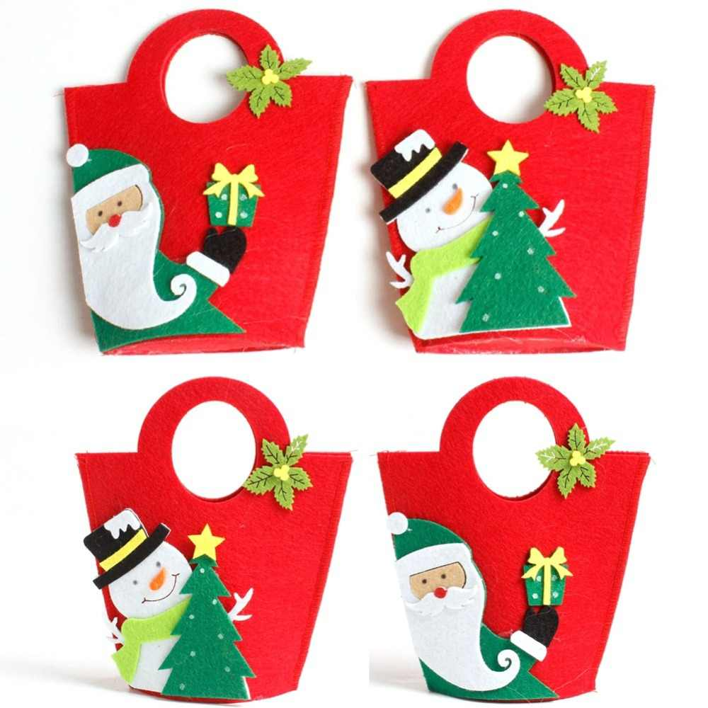 Cute Christmas Santa Claus Gift Bag Merry Christmas Candy Bags Decor