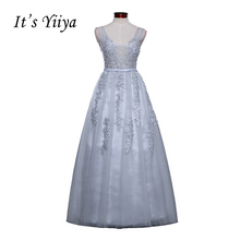 Free Shipping 2016 Sleevesless Romantic Grey Clare Formal Bridesmaid Dresses Gown Plus Size V-neck Sex Bridesmaid Frocks HMDH001(China)