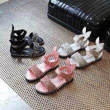 2019 Baby Girl Sandals Fashion Cute Pink Bling Shiny Rhinestone Toddler