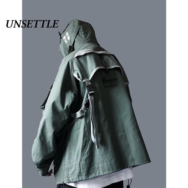 UNSETTLE Autumn Mens Back Strap Flight Military Jacket Ma1 Hip Hop Aviator Bomber Jacket Outwear Streetwear Cargo Coat Male