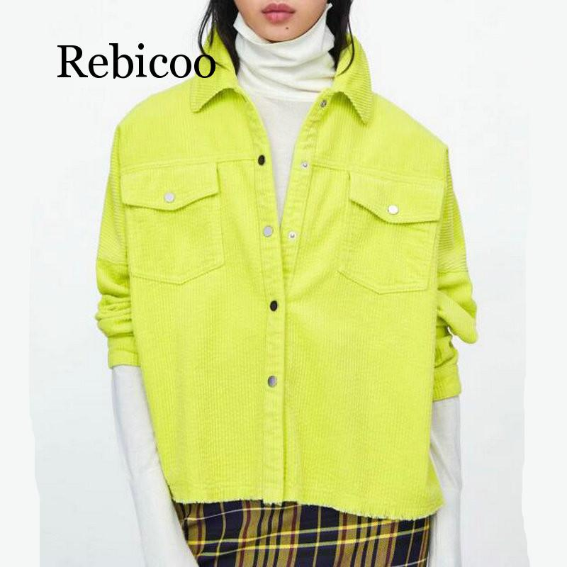 2019 Women Bright Green Color Corduroy Jacket Loose Single Breasted Coat Fashion Button Down Tassel Jacket in Jackets from Women 39 s Clothing