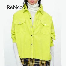 2019  Women Bright Green Color Corduroy Jacket Loose Single Breasted Coat Fashion Button Down Tassel