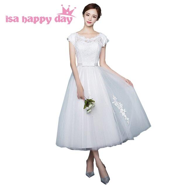 elegant prom dresses elegant women scoop neck lace tea length ivory ...