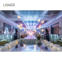 Laeacco Indoor Wedding Light Stage Flower Backdrop Photocall Photography Background Customized Bridal Backdrops For Photo Studio