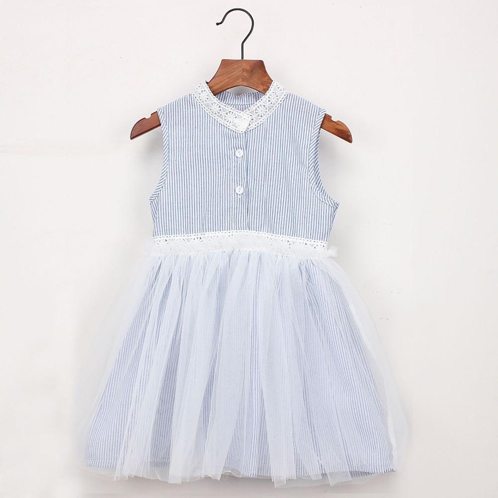 2019 Summer Girls Dress Lace Fashion Striped Dresses Princess Children Vestidos For Baby