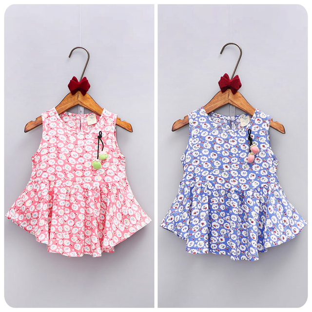 Countryside Wind Children's Garment 2016 Xia Hanban Girl Baby Shivering Cherry Skirt Girl Bow Princess
