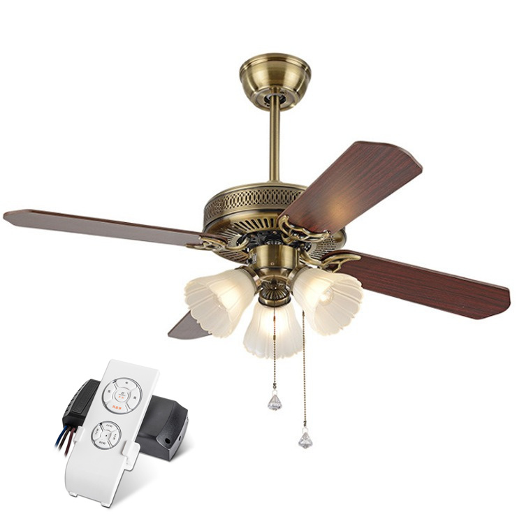 Ceiling Fans Lukloy 42 Inch European Fan Light Wood Leaf Living Room Restaurant Light Decorative Traditional Ceiling Pendant Fan Lamp