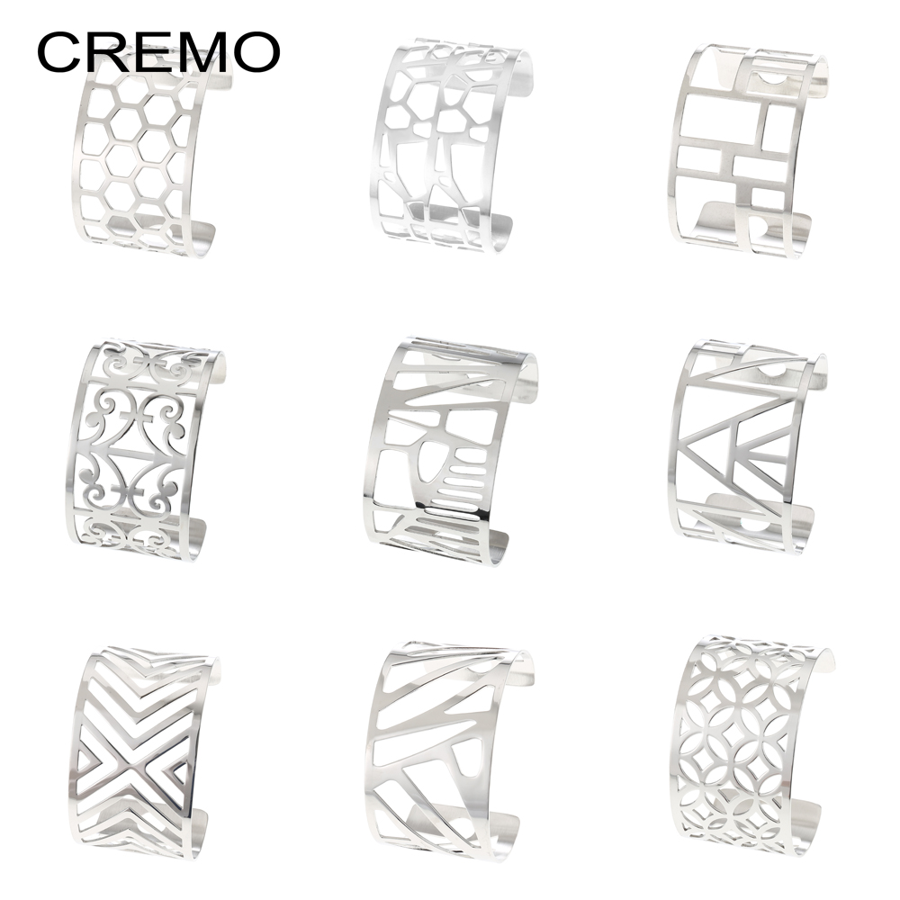 Cremo Cuff Bracelets Les Manchette Femme Women Stainless Steel Bangles Dainty Design Minimalist Bangle 40mm Wide Pulseras