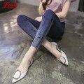 2017 Resorte Pantalones Vaqueros de Cintura Alta Mujer Estilo Coreano Azul Negro Ripped Jeans Mujer Pantalones Lápiz Flaco Jean Femme Plus Tamaño Pantalones