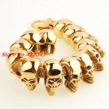 8.6″*25mm Punk Skull Skeleton Gold Stainless Steel Chain for Men's Heavy Bracelets & Bangles Males Huge Pulseira Jewelry Gift