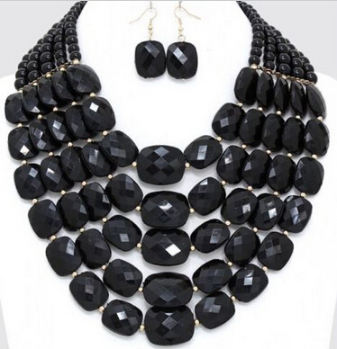N3389 VERY BLACK Pearl Long 5Row Multi Layered Strand Bead Necklace plus pearl beaded layered hem blouse