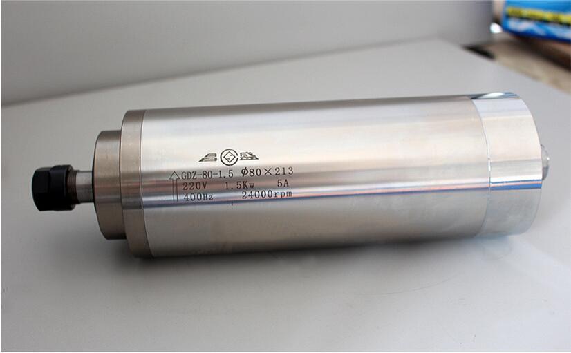 1,5kW D80 * 213mm vesijahutusega spindelmootor ER16, 24000 p / min, 4 laagriga, DIY Wood CNC ruuteri jaoks