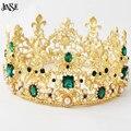 JINSE Lujo Vantage Rey Corona de Oro de la Aleación De La Corona de La Boda Tiara Nupcial de la Reina Barroca Verde Gem Stone Tiara Corona CR081