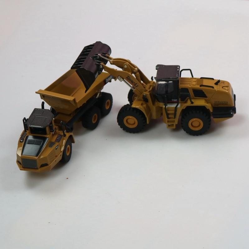 HUINA 1:50 Самосвал экскаватор колесный погрузчик литая металлическая модель строительная машина игрушки для мальчиков подарок на день рождения коллекция автомобилей - Цвет: Loader and  truck