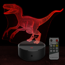 New Cartoon Jurassic World Bru Dinosaur Raptor Shape Acrylic LED Lamp 3D Night Light for Baby Children Sleeping Lighting