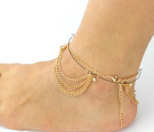 Women Summer Sandy Beach Charms Tassel Crystal Gold Plated Anklet Toe Ankle Bracelet Chain Hot Foot jewelry Gifts D4598a