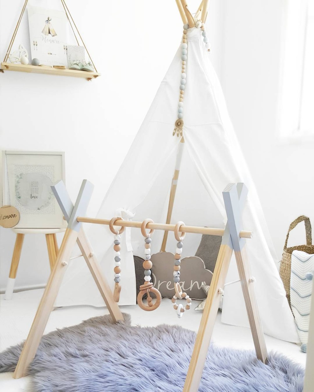 Nordic Wooden Baby Play Gym Baby Activity Gym Stylish Nursery Baby Wooden Gym Stand Baby Gym
