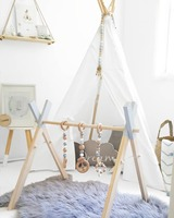 Nordic Wooden Baby Play Gym Baby Activity Gym Stylish Nursery Baby Wooden Gym Stand Baby Gym With 3PCS Toys