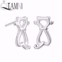 QIAMNI Minimalist Jewelry 925 Sterling Silver Lovely Cat Animal Stud Earring for Women Girls Wedding Birthday Pet Lover Gift(China)