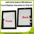 Blanco negro pantalla táctil de cristal digitalizador asamblea con el botón home + adhesivo etiqueta engomada del pegamento de reparación de piezas de reemplazo para ipad 3 4