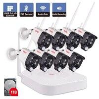 8CH 1080 P 2MP IP Камера аудио запись Беспроводной видеонаблюдения Системы дома NVR CCTV Камера комплект видеонаблюдения PIR сенсор тонтон
