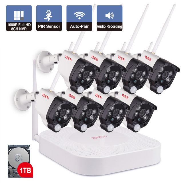 8CH 1080 P 2MP ip-камера аудио запись Беспроводная система видеонаблюдения домашняя NVR видео системы наблюдений комплект видеонаблюдения PIR датчи...