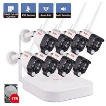 Câmera de vigilância residencial, 8ch 1080p 2mp ip câmera de vigilância de áudio sem fio cctv sistema casa nvr cctv câmera kit de vídeo pir sensor tonton,