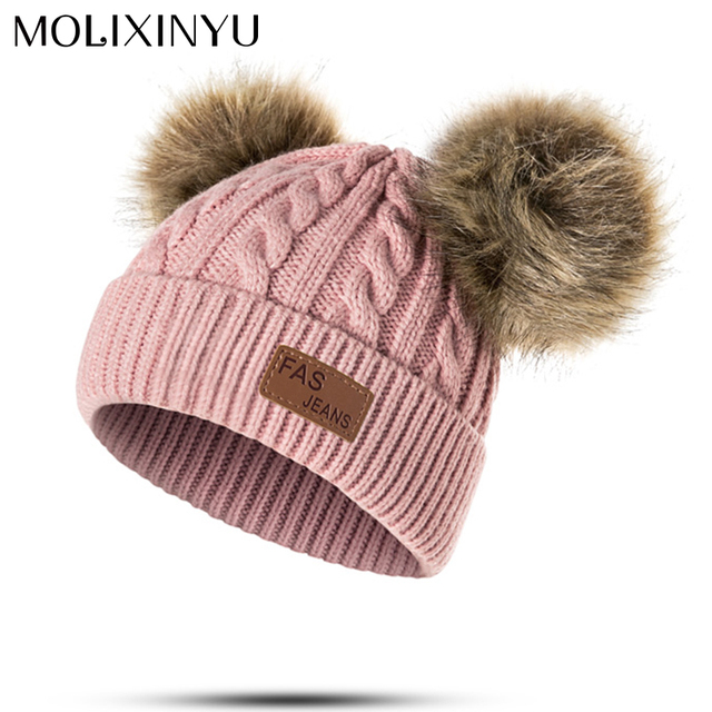 855856280c7 MOLIXINYU Baby Boys Girls Pom Poms Hat Children Winter Hat For Girls  Knitted Beanies Thick Baby Hat Infant Toddler Warm Cap