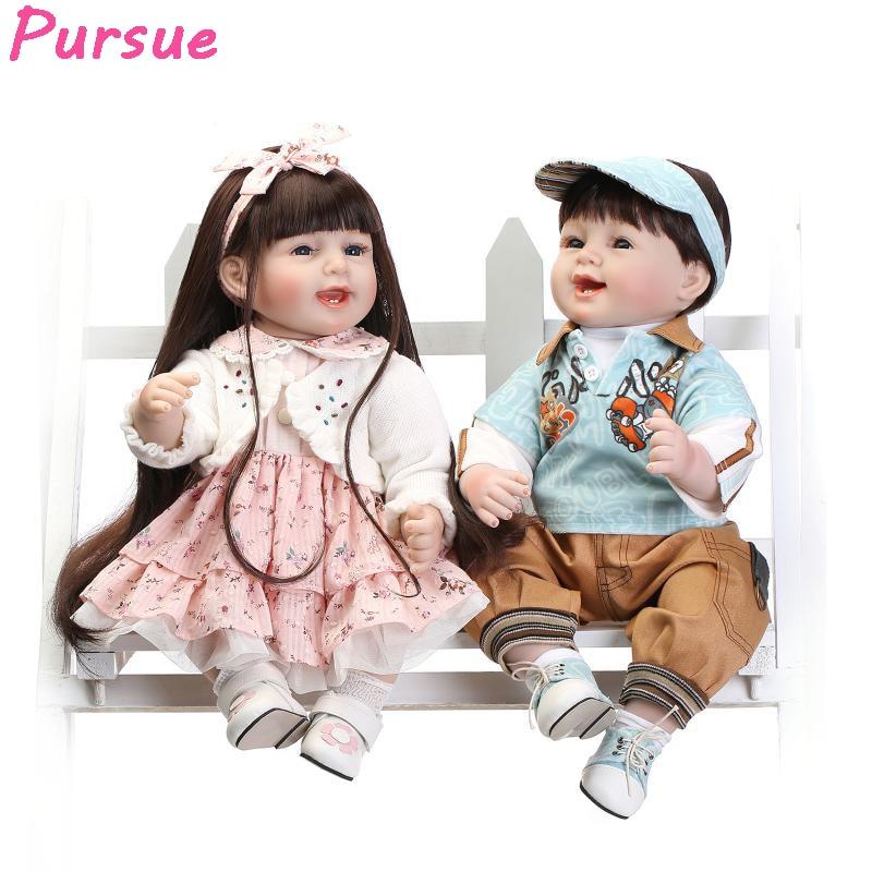 где купить Pursue 22 inch Twins Girls Boys Bebe Reborn Silicone Reborn Babies Dolls for Sale bebe reborn menina de silicone menina 55 cm дешево