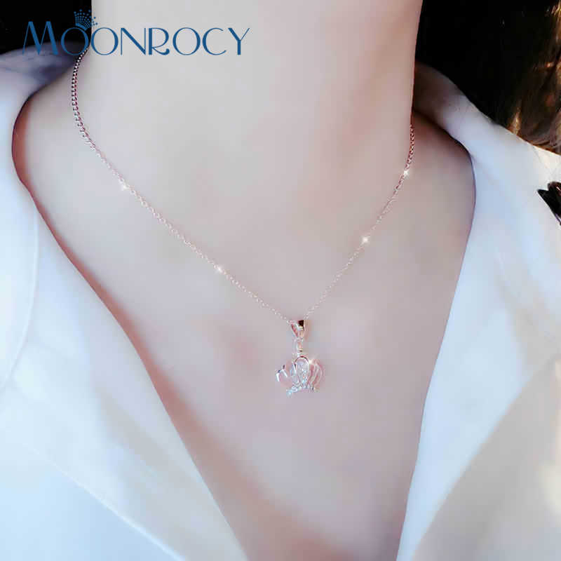 MOONROCY Free Shipping Fashion Jewelry choker Austrian Crystal Necklace Crown Rose Gold Color for Women Jewelry Gift choker