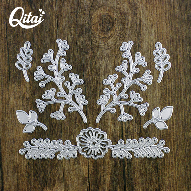 QITAI High Quality 7pcs / lot Scrapbook DIY Blomster Leaves Cutting Production Tool Maleri Skjære Die Cutter Engros D17