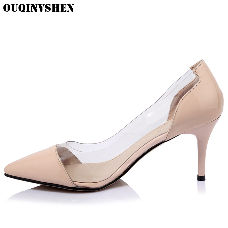 OUQINVSHEN Pointed Toe High Heels Women Pumps Thin Heels Casual Fashion Ladies Girl Pumps Shallow Single Shoes Women Brand Pumps ouqinvshen pointed toe high heels bling shallow women pumps new thin heels single shoes casual fashion stiletto heel high heels