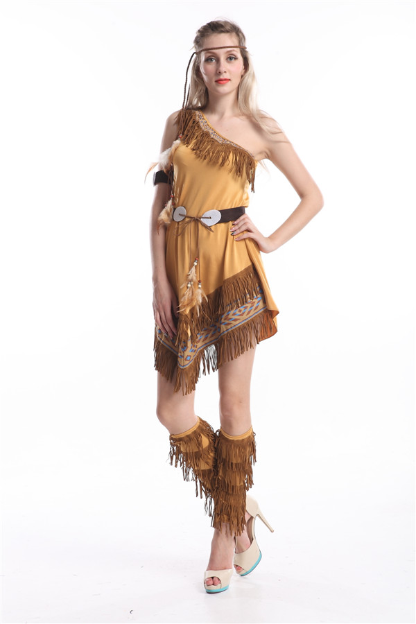 Indian Costume Womens Pocahontas Adult Fancy Dress S,M,L -5451