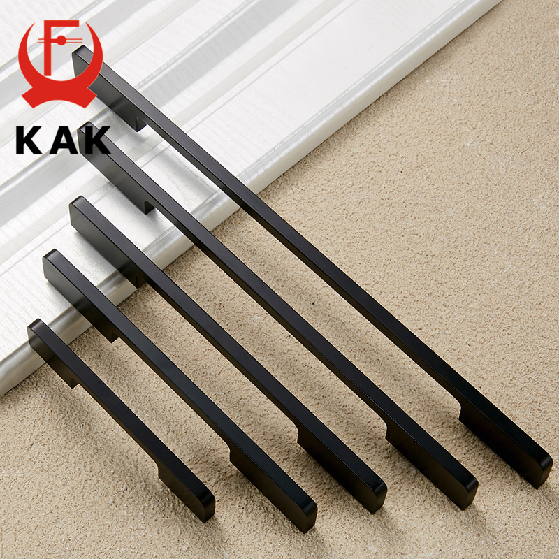 KAK Black Cabinet Handles Solid Aluminum Alloy American Style Kitchen Cupboard Pulls Drawer Knobs Furniture Handle Hardware