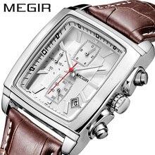 MEGIR Originalนาฬิกาผู้ชายแบรนด์หรูสี่เหลี่ยมผืนผ้าQuartzนาฬิกาทหารกันน้ำนาฬิกาข้อมือหนังผู้ชายนาฬิกา