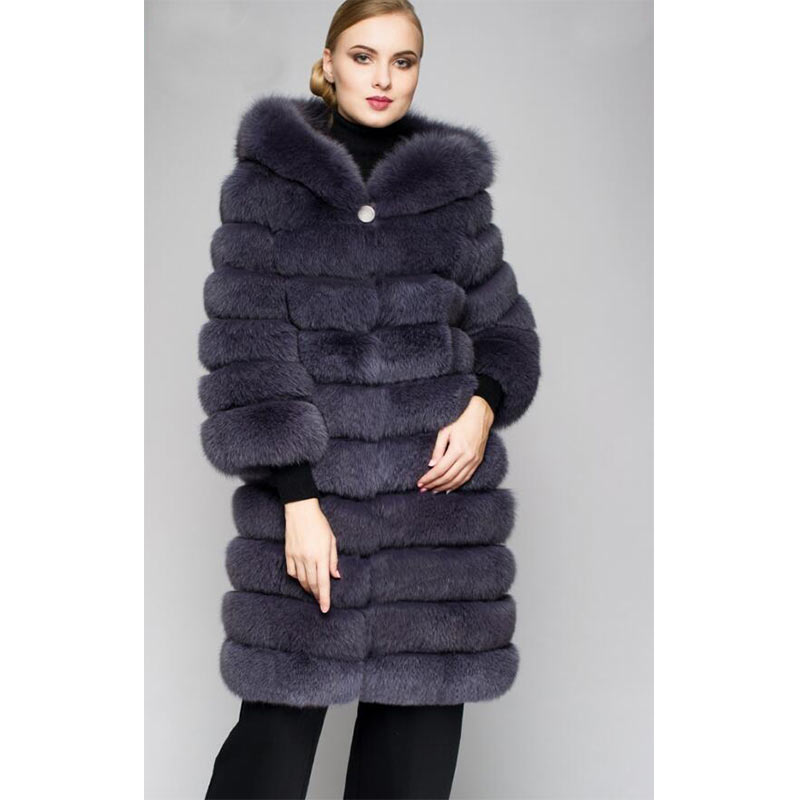 2019new Femme Super Pour D'hiver Renard Chaud Mode Capuche beige Femmes Grande Naturel De Taille Gray Épais Manteaux Fourrure Nouvelle Long Genuin Avec Réel Vestes 1r1qp