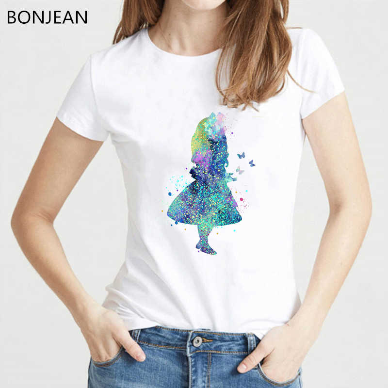 Nieuwe collectie 2019 Aquarel Ploetert Alice In Wonderland T-Shirt vrouwen vogue hipster cool dames tee shirt femme wit t-shirt