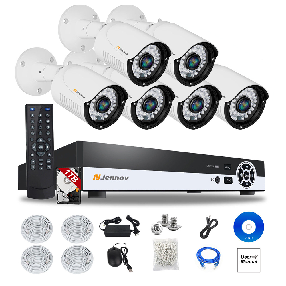 6CH HD 1080P 2MP P2P POE NVR CCTV System IP Camera Security Home Audio Video Record Surveillance kits Outdoor Led Light ipCam 6ch poe 1080p 2mp audio record home security camera with led light video surveillance system kit cctv set nvr outdoor ipcam ir