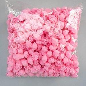 Image 1 - Köpük güller 500 adet 3.5cm yapay köpük çiçek kafaları DIY 20cm oyuncak ayı kalıp gül ayı aksesuarları dekor sevgililer hediye