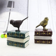 Retro Home Craft Piggy Bank Vintage Europe Style Bird Stand Books Art Children Gift Saving Box Coins Bank Safe Money Boxes(China)