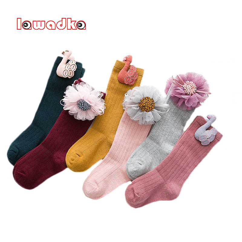 купить Autumn Winter Children's Knee High Socks Cotton Princess Girls Socks with Floral Fashion Socks for Girls 1 2 3 4 5 6 7 8 Years по цене 155.03 рублей