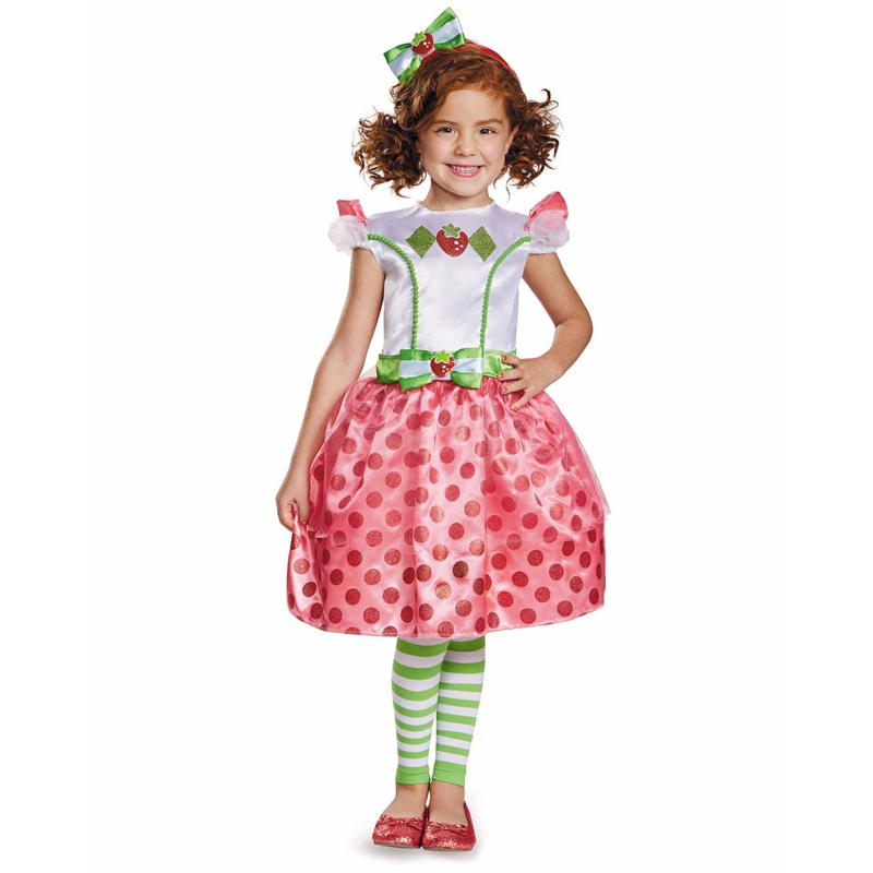 Toddler Girls Classic Strawberry Shortcake Fancy-Dress Halloween Party Costume Size 3T-4T