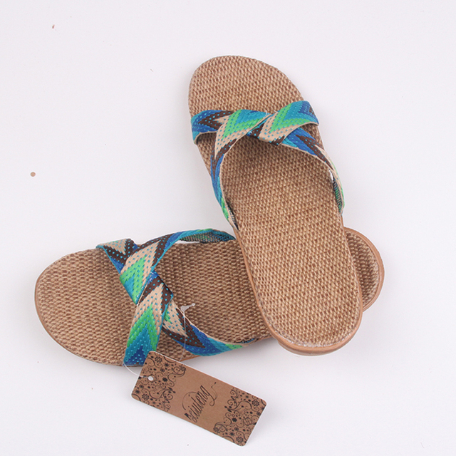 2019 Fashion Flax Home Slippers Indoor Floor Shoes Cross Belt Silent Sweat Slippers For Summer Women Sandals 3